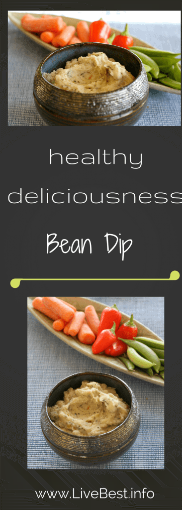 Bean Dip recipe | Buzz some beans and herbs to dip apples, peppers, jicama, carrots, snap peas. White Bean Dip is a friend to all! Healthy, vegetarian and easy. Real food naturally. www.LiveBest.info