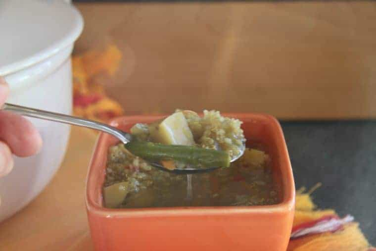 Peruvian Quinoa Soup Recipe | Quinoa, veggies and a little spice make this soup on to repeat. PERFECT winter comfort food. www.LiveBest.info