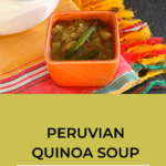 bowl of Peruvian quinoa soup on colorful cloth