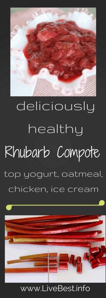 Rhubarb Compote recipe | Rhubarb, ginger and orange. Yum! Rhubarb Compote, how do I eat thee? With yogurt, oatmeal, cornmeal cake, and ice cream! Real food naturally. www.LiveBest.info