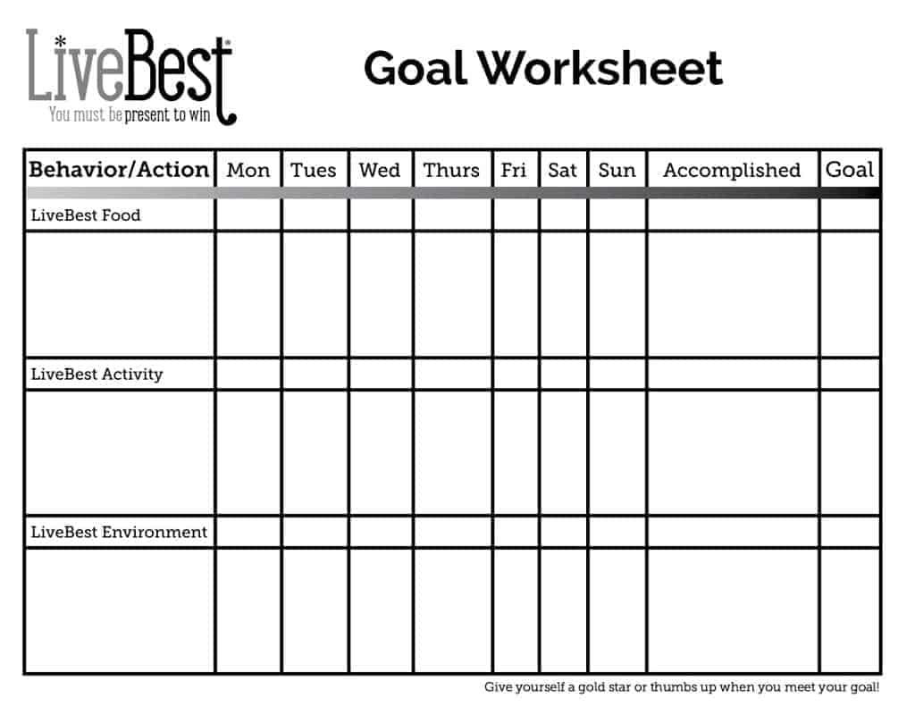LiveBest Goal Worksheet FREE