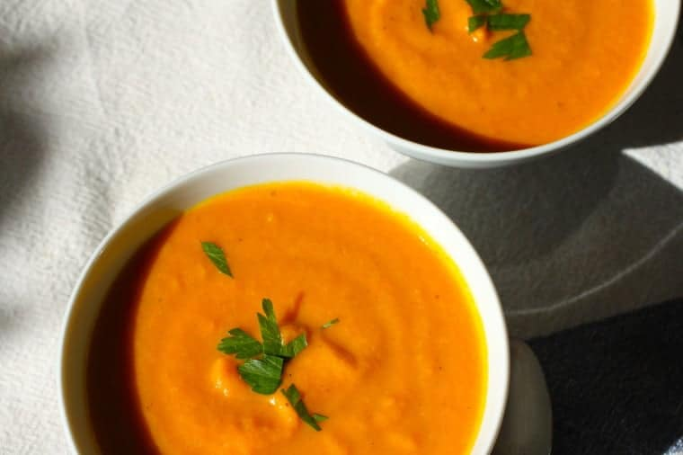 Carrot Coconut Ginger Soup Recipe | I love the flavors in this creamy soup! Ginger and coconut make the carrots ( and me) happy! www.LiveBest.info