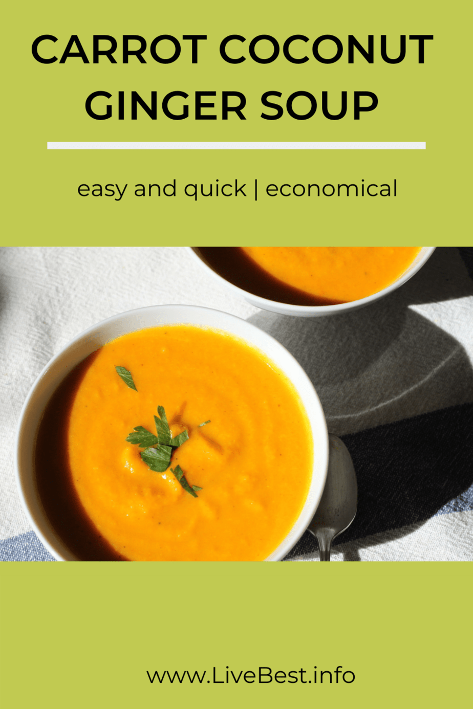 two bowls of carrot coconut ginger soup