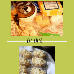 2 photos, 1 is a messy cheese drawer, the other is crostini with Fromage Fort