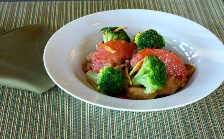grapefruit broccoli, ginger chicken