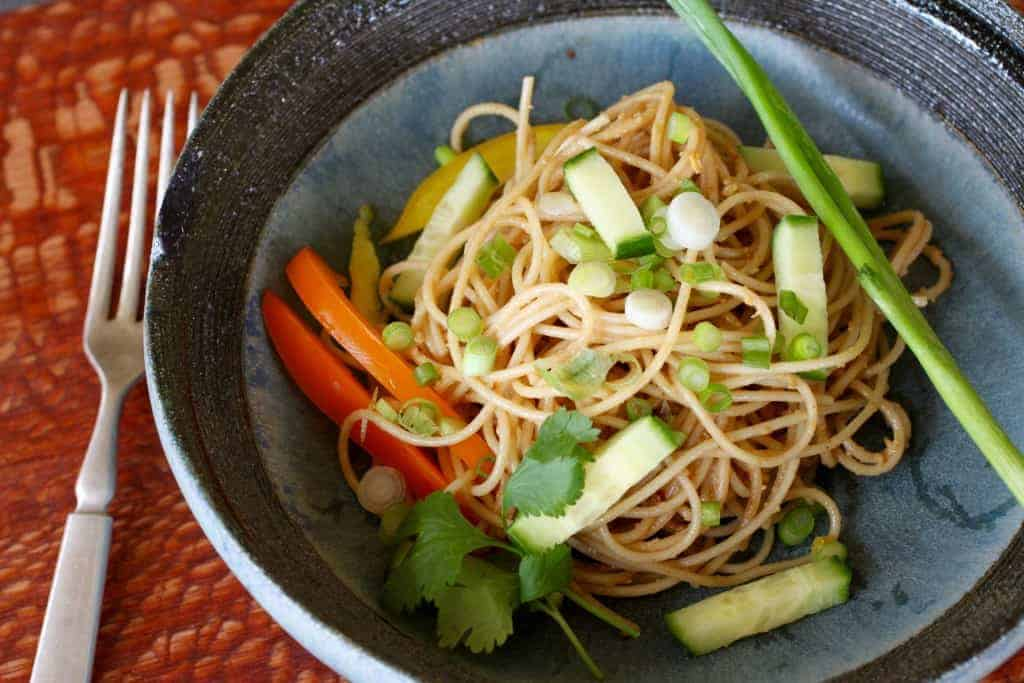 Peanut Sesame Noodle Bowl | Use leftover pasta to create a refreshing delish salad. www.LiveBest.info