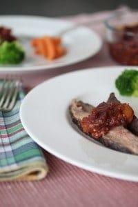 rhubarb chutney on flank steak