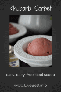 Rhubarb Sorbet | Sorbet is dairy free, such a cool way to enjoy this spring fruit. Real foods naturally. www.LiveBest.info
