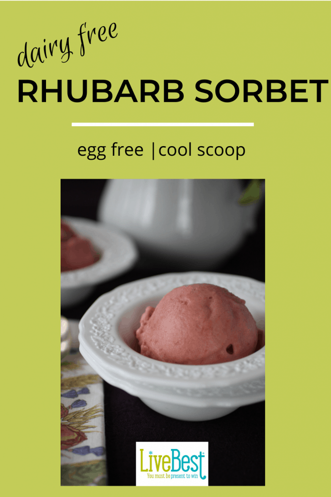 2 scoops of rhubarb sorbet in dishes