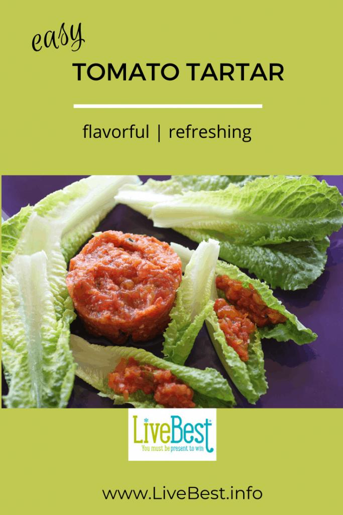 tomato tartar on lettuce leaves