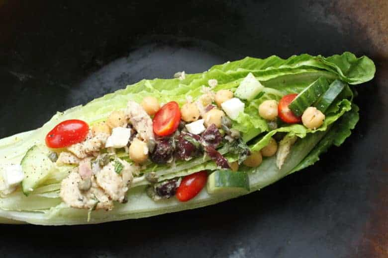 Greek Salad with Beans and Tuna recipe   Marinate the beans and tuna in the dressing for 15 minutes or overnight, however much time you have works. Then pour the every-bite-has-flavor ingredients over lettuce. www.LiveBest.info