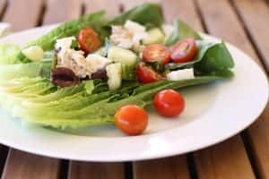 Greek Salad with Beans and Tuna recipe | Marinate beans and tuna in the dressing for 15 minutes or overnight. Pour on healthy, delicious, every-bite-has-flavor ingredients. www.LiveBest.info