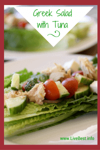 Greek Salad with Beans and Tuna recipe   Marinate beans and tuna in the dressing for 15 minutes or overnight. Pour on healthy, delicious, every-bite-has-flavor ingredients. www.LiveBest.info