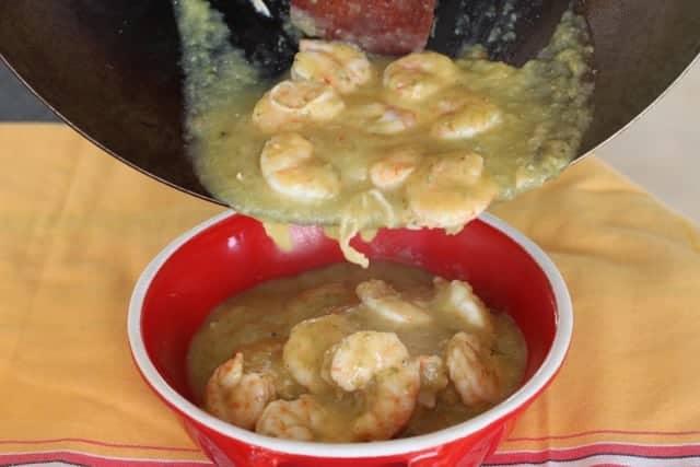 Mojito Shrimp poured in a bowl
