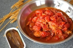 Red Sauce with pasta and anchovies