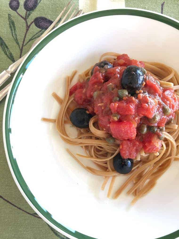 Pasta Puttanesca | This is an easy heat-and-eat dinner. It's loaded with the delicious flavors of tomatoes, olives, capers and anchovies. Everyone likes it. At least when I serve it, no complaints. Ever! www.LiveBest.info