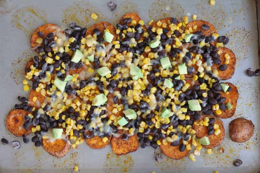 Sweet Potato Nachos   With all the yummy toppings, no one will miss the chips. Another great thing about this recipe...no leftovers. They're good to the last little bean ;-) www.LiveBest.info