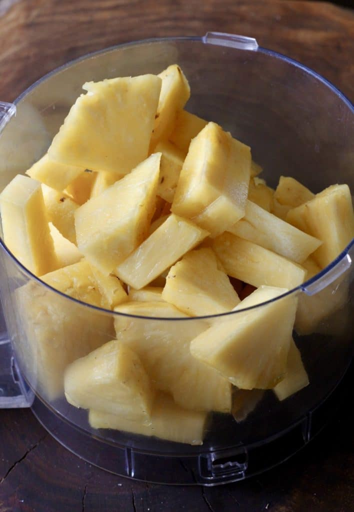 pineapple chunks ready in food process for fresh pineapple jam