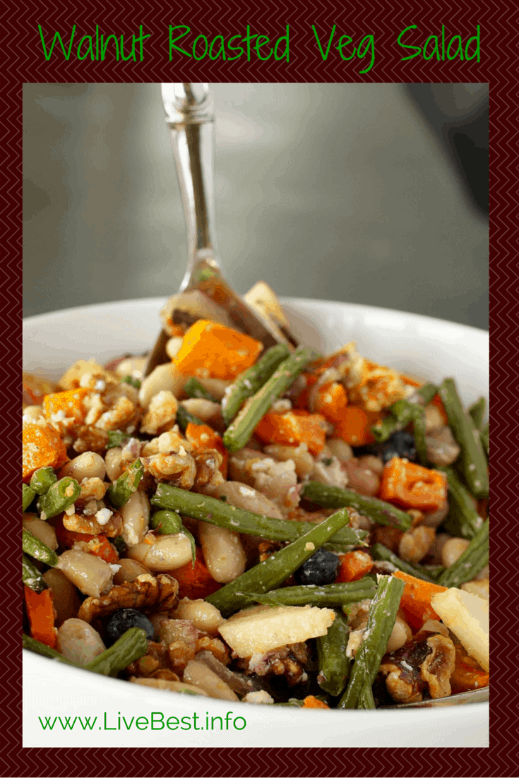 Walnut Roasted Vegetable Salad | Walnuts, butternut squash, green beans, cheese, beans, apples, oh my! Did I say nutrish? This recipe has delish in every bite! www.LiveBest.info