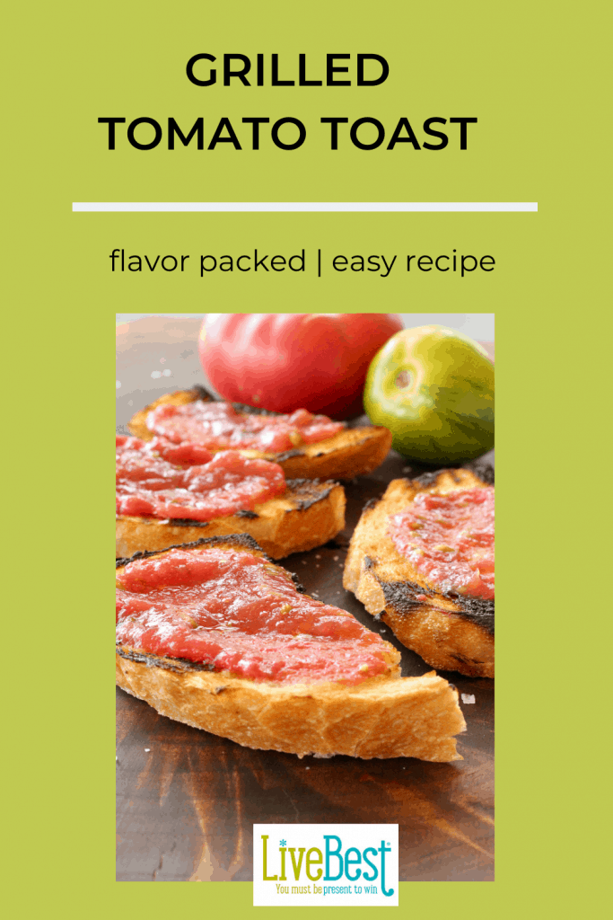 grilled sourdough toast with fresh grated tomato