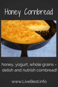 Whole-grain Honey Cornbread in cast-iron skillet