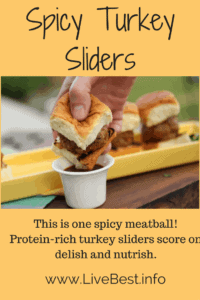 Spicy Turkey Sliders | These protein-rich turkey sliders score on delish and nutrish. This is one spicy meatball! A healthy recipe from www.LiveBest.info