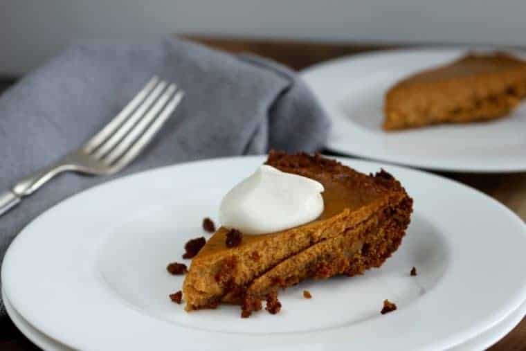 Gingersnap Pumpkin Pie | Gingery and creamy, but, shhh, it's lower in sugar too! www.LiveBest.info