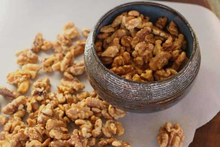Maple-Glazed Walnuts Recipe | Good as a nibble with cocktails, an afternoon bite with tea or sprinkled on a salad or over yogurt. www.LiveBest.info