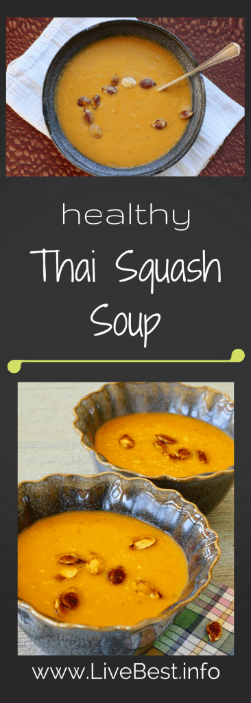 Thai Squash Soup | Healthy, hearty homemade soup recipe from www.LiveBest.info. Coconut milk, butternut squash, curry and more!