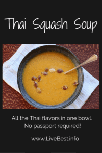 bowl of Thai Squash Soup with toasted squash seeds