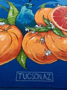 street art painting of oranges on Tucson wall