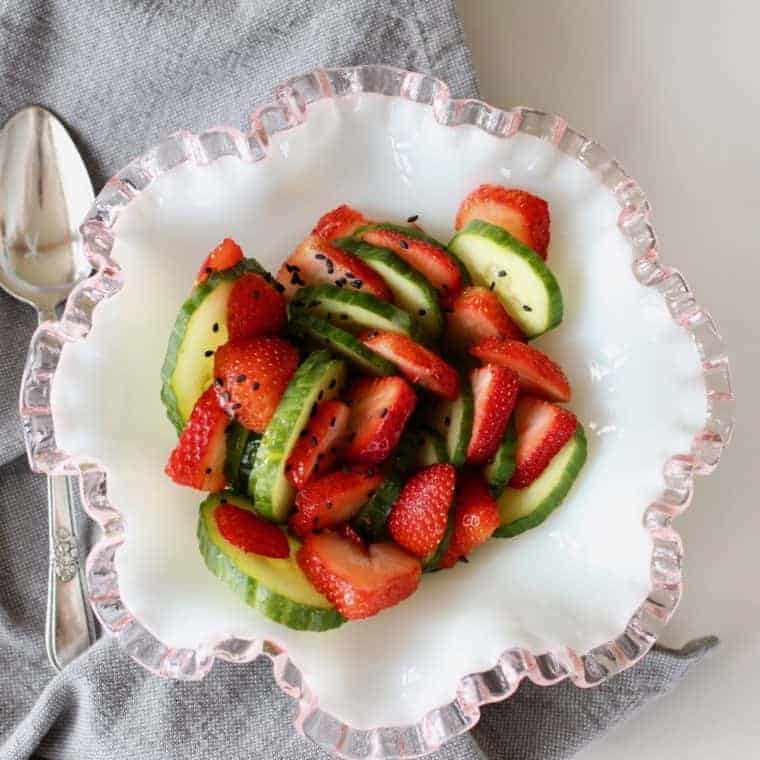 Strawberry Cucumber Salad | Just a sprinkle of sesame seeds take this salad from simple to superb! www.LiveBest.info