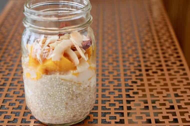 Mango Coconut Overnight Oats in a jar