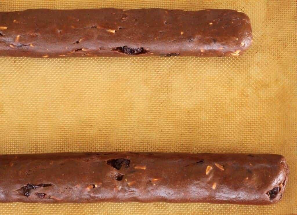 Chocolate Cherry Almond Biscotti roll