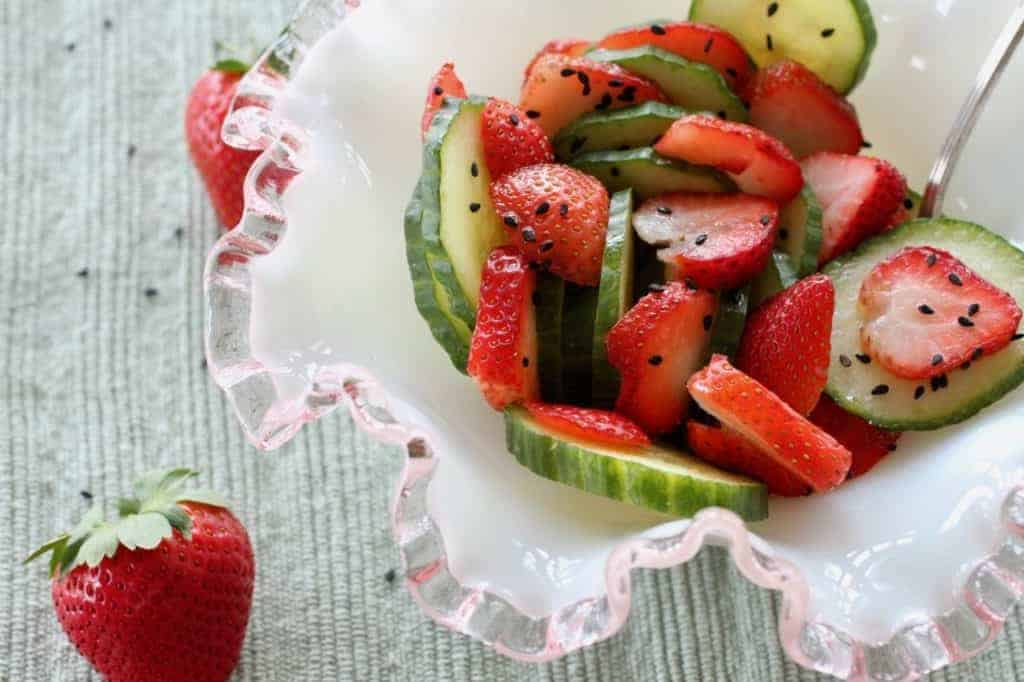 Strawberry Cucumber Salad in a bowl