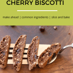 4 chocolate almond cherry biscotti on a spatula