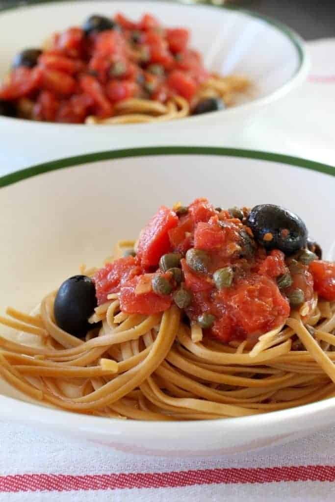 Pasta Puttanesca   This is an easy heat-and-eat dinner. It's loaded with the delicious flavors of tomatoes, olives, capers and anchovies. Everyone likes it. At least when I serve it, no complaints. Ever! www.LiveBest.info