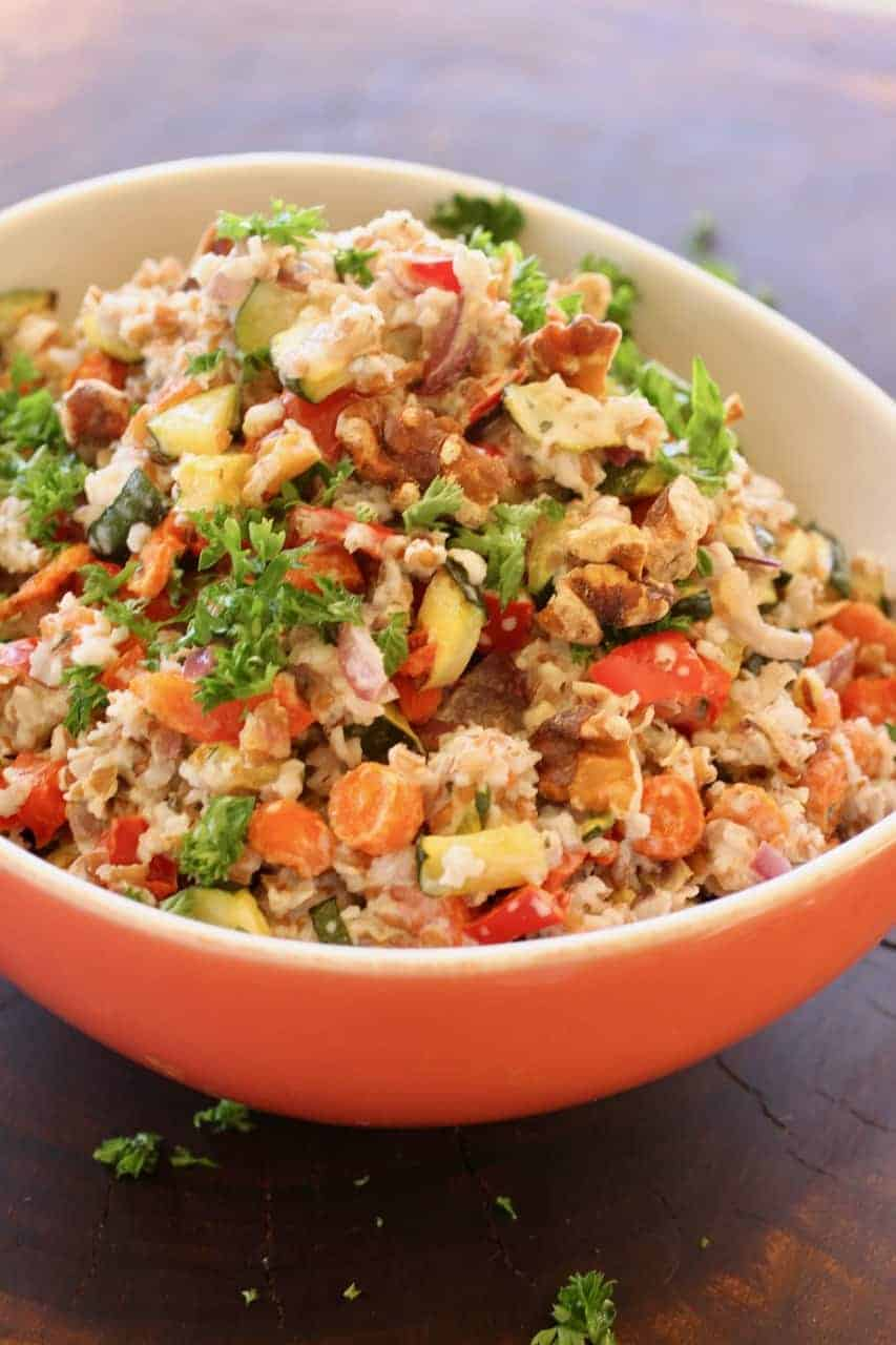 Roasted Vegetable Bulgur Salad | Use the vegetables you have on hand to create a protein- and fiber-filled scrumptious salad. A LiveBest favorite! www.LiveBest.info