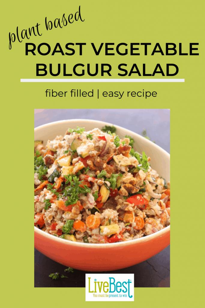 bowl of roasted vegetables and bulgur salad