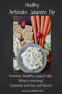 Artichoke Jalapeño Dip | A seriously delicious healthy dip! Buried in those artichoke hearts are lots of antioxidant power and the yogurt and Parmesan cheese supply protein and calcium. What's missing are the calories and fat. www.LiveBest.info