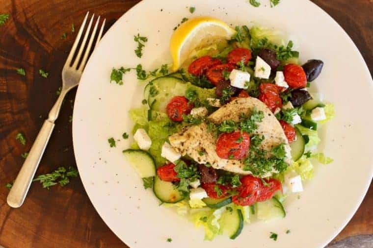 One Pan Roasted Greek Salad   Sometimes when I make a new recipe I swoon. This is that recipe! A Greek salad that is ready in 30 minutes and filled with healthy real foods! www.LiveBest.info