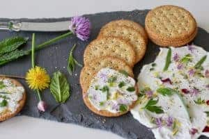 Herb and Flower Yogurt on slate with crackers