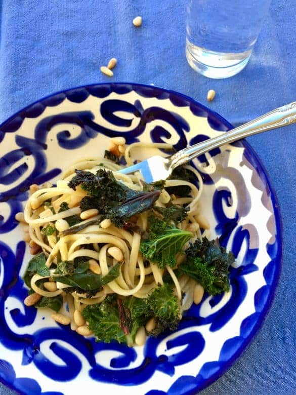 Linguini with Swiss Chard recipe | Fast and fabulous! Comes together in 15 minutes and is filled with super delish foods that deliver all sorts of health benefits! www.LiveBest.info