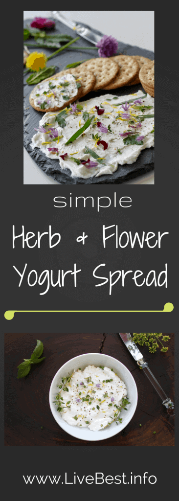 Herb and Flower Yogurt Spread  One of the prettiest dip recipes. Ever! Quick, easy and a better-for-you appetizer than most. www.LiveBest.info
