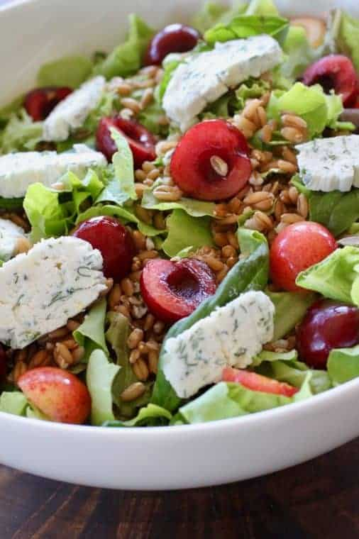 Cherry Herb Cheese Salad | Summery goodness with fresh cherries and herbs and creamy goat cheese. Every bite is scrumptious! www.LiveBest.info
