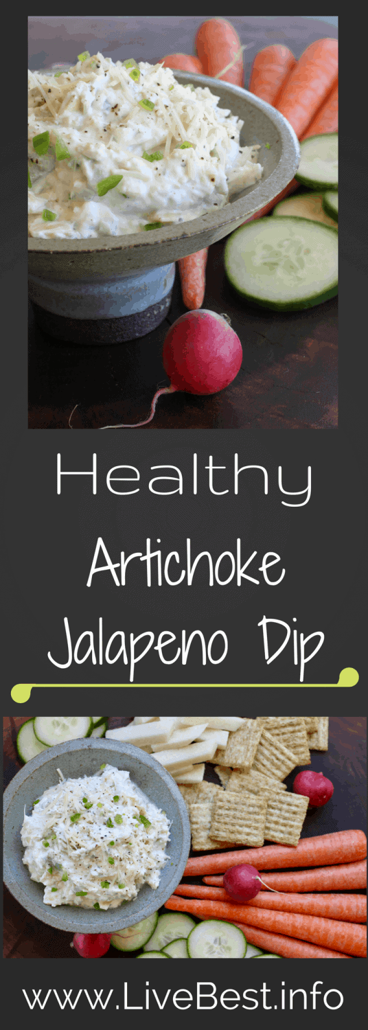 Artichoke Jalapeño Dip | A seriously delicious healthy dip! Artichokes, yogurt, Parmesan cheese plus protein and calcium. I LOVE this dip! www.LiveBest.info