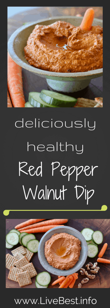 Roasted Red Pepper Dip | Tangy with spice, Red Pepper Walnut Dip is flavorful deliciousness! Toss it, spread it, dollop it, this vegetarian dip is simply, healthy food. www.LiveBest.info