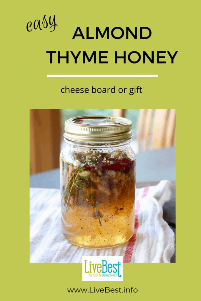jar of almond thyme honey