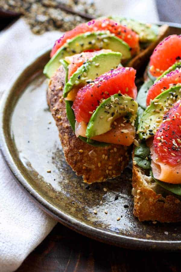 Everything Seasoning on smoked salmon, avocado and grapefruit toast