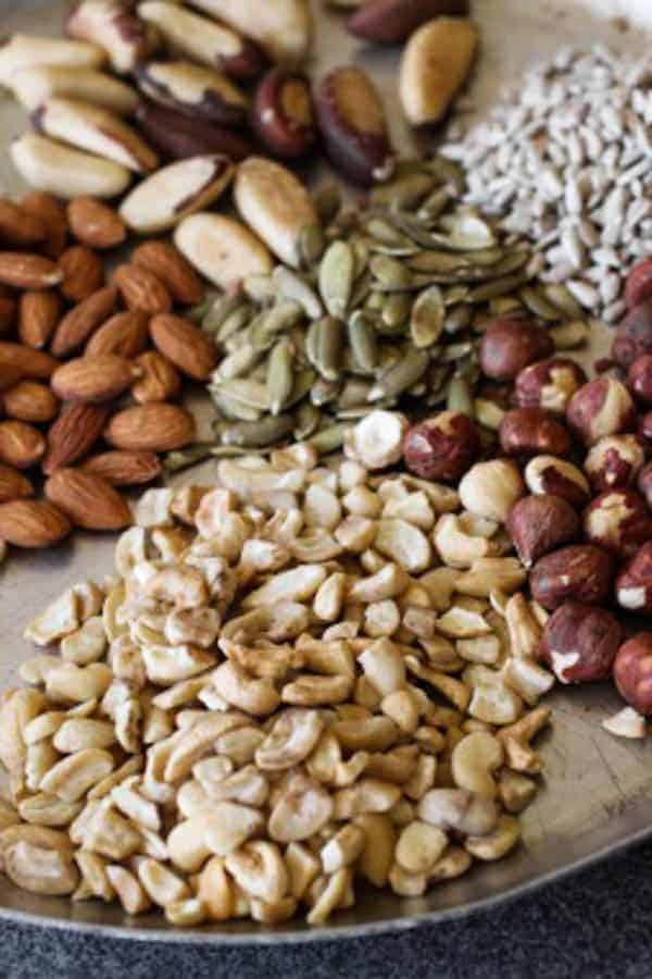 Nut'n Seed Butter plate of cashews, hazelnuts, sunflower seeds, pumpkin seeds, brazil nuts and almonds